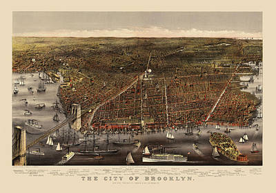 Brooklyn Bridge Drawing - Antique Map Of Brooklyn By Currier And Ives - Circa 1879 by Blue Monocle