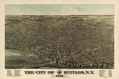 Buffalo Drawing - Antique Map Of Buffalo New York By Edward Howard Hutchinson - 1880 by Blue Monocle
