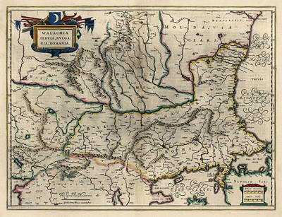 Romania Drawing - Antique Map Of Bulgaria Romania And Serbia By Willem Janszoon Blaeu - 1647 by Blue Monocle