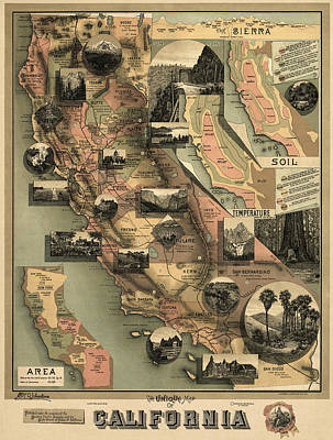 Vintage Map Drawing - Antique Map Of California By E. Mcd. Johnstone - 1888 by Blue Monocle