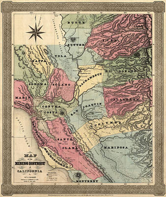 Antique Map Of California By William A. Jackson - 1851 Print by Blue Monocle
