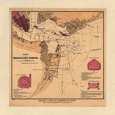 Antique Drawing - Antique Map Of Charleston Harbor South Carolina By W. A. Williams - Circa 1861 by Blue Monocle