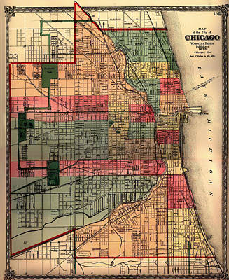 Chicago Drawing - Antique Map Of Chicago 1875 by Mountain Dreams
