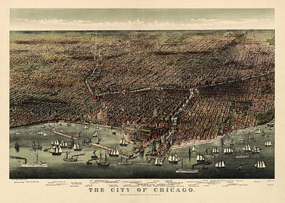 Grant Park Drawing - Antique Map Of Chicago By Currier And Ives - 1892 by Blue Monocle