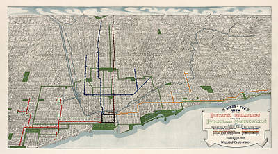 Grant Park Drawing - Antique Map Of Chicago By Willis J. Champion - 1908 by Blue Monocle