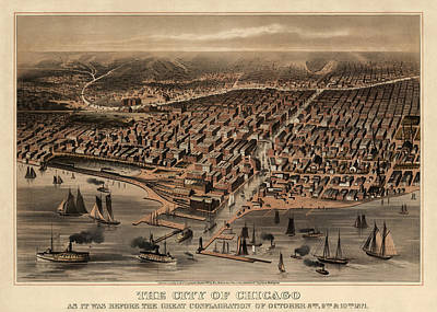 Grant Park Drawing - Antique Map Of Chicago Illinois As It Appeared In 1871 Before The Fire by Blue Monocle