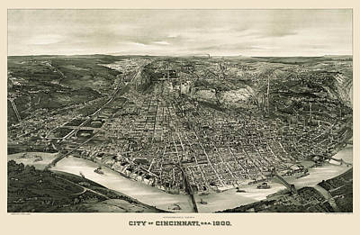 Fish Drawing - Antique Map Of Cincinnati Ohio By John L. Trout - 1900 by Blue Monocle