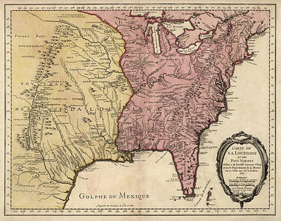 Jacques Drawing - Antique Map Of Colonial America By Jacques Nicolas Bellin - 1750 by Blue Monocle