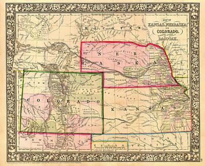 Kansas City Drawing - Antique Map Of Colorado Nebraska And Kansas 1860 by Mountain Dreams