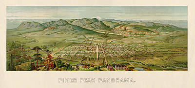The View Drawing - Antique Map Of Colorado Springs By H. Wellge - 1890 by Blue Monocle