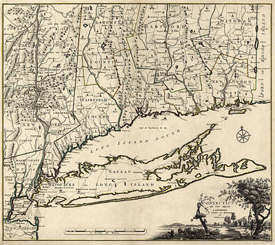 Antique Map Of Connecticut By Covens And Mortier - 1780 Print by Blue Monocle
