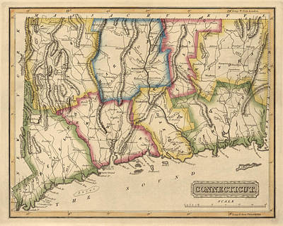 Antique Map Of Connecticut By Fielding Lucas - Circa 1817 Print by Blue Monocle