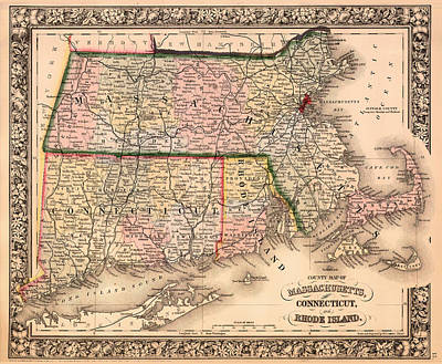 Antique Map Of Connecticut Massachusetts And Rhode Island 1864 Print by Mountain Dreams