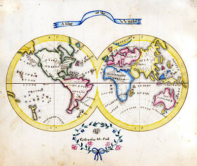 Sphere Painting - Antique Map Of  Cook World by Celestial Images