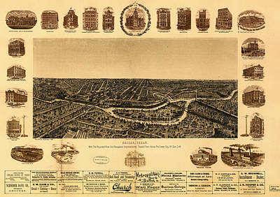 Dallas Drawing - Antique Map Of Dallas 1892 by Mountain Dreams