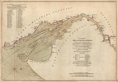 Nj Drawing - Antique Map Of Delaware Bay By William Faden - 1776 by Blue Monocle