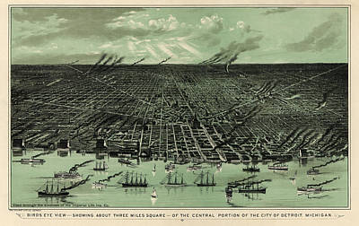 Antique Drawing - Antique Map Of Detroit Michigan - Circa 1889 by Blue Monocle