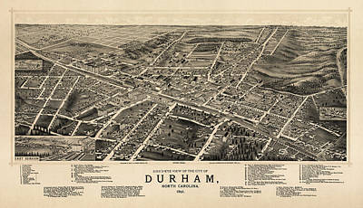 North Carolina Drawing - Antique Map Of Durham North Carolina By A. Ruger - 1891 by Blue Monocle