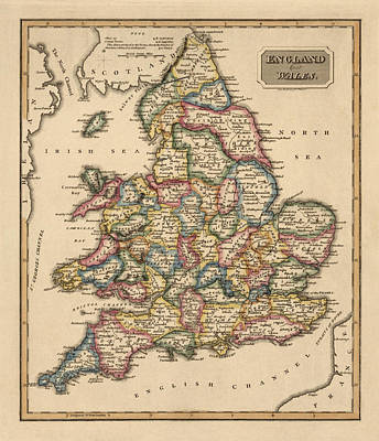 Antique Map Of England And Wales By Fielding Lucas - Circa 1817 Print by Blue Monocle