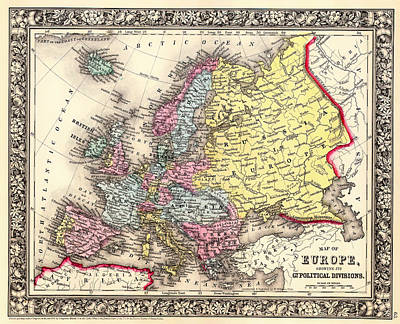 Antique Map Of Europe 1860 Print by Mountain Dreams