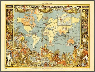Compass Painting - Antique Map Of Extent Of The British Empire In 1886 by Celestial Images