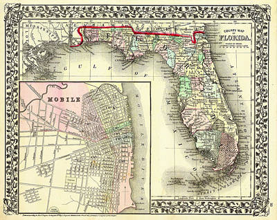 1874 Drawing - Antique Map Of Florida 1874 by Mountain Dreams