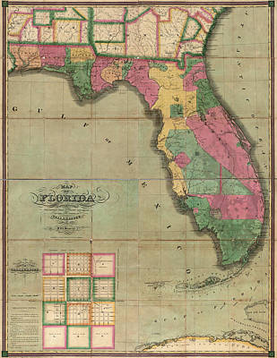 Old Drawing - Antique Map Of Florida By I. G. Searcy - 1829 by Blue Monocle