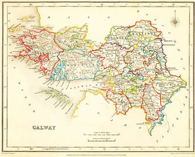 Caribbean Painting - Antique Map Of Galway Ireland by Celestial Images