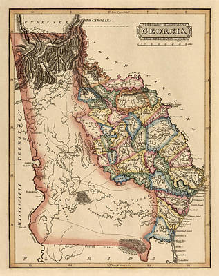 Old Drawing - Antique Map Of Georgia By Fielding Lucas - Circa 1817 by Blue Monocle