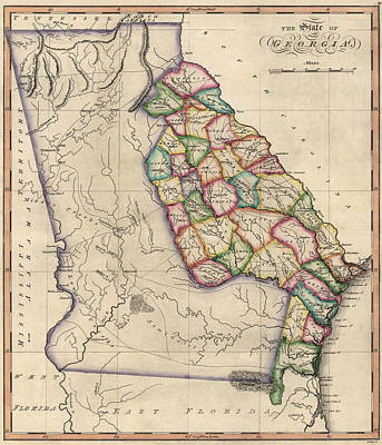 Antique Map Of Georgia By Samuel Lewis - Circa 1810 Print by Blue Monocle