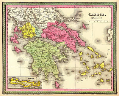 Antique Map Of Greece 1850 Print by Mountain Dreams
