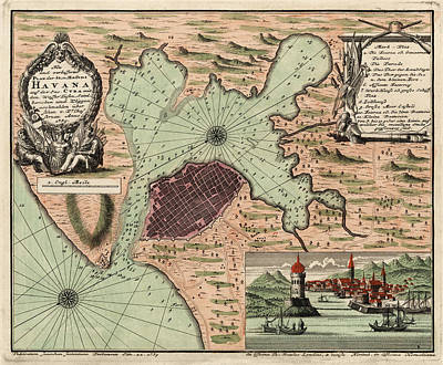 Havana Drawing - Antique Map Of Havana Cuba By Jacques Nicolas Bellin - 1739 by Blue Monocle