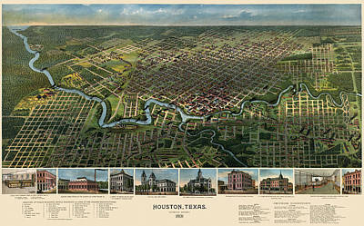 Old Drawing - Antique Map Of Houston Texas - 1891 by Blue Monocle