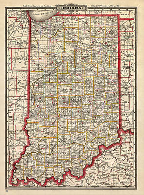 Antique Map Of Indiana By George Franklin Cram - 1888 Print by Blue Monocle