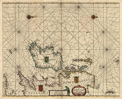 Great Drawing - Antique Map Of Ireland And Great Britain By Hendrick Doncker - 1658 by Blue Monocle