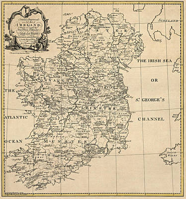 Old Drawing - Antique Map Of Ireland By S. Thompson - Circa 1795 by Blue Monocle