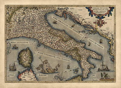 Antique Map Of Italy By Abraham Ortelius - 1570 Print by Blue Monocle