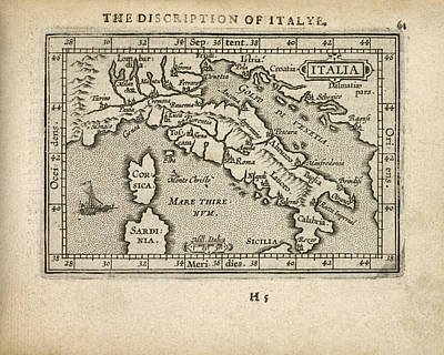 Antique Map Of Italy By Abraham Ortelius - 1603 Print by Blue Monocle