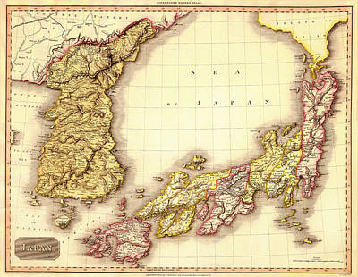 Antique Map Of Japan And Korea 1809 Print by Mountain Dreams