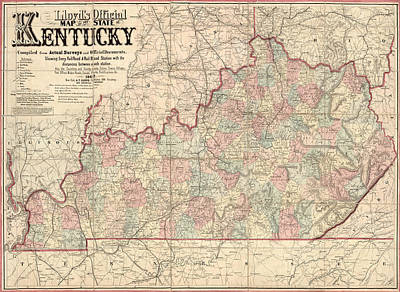 Lloyds Drawing - Antique Map Of Kentucky By James T. Lloyd - 1862 by Blue Monocle