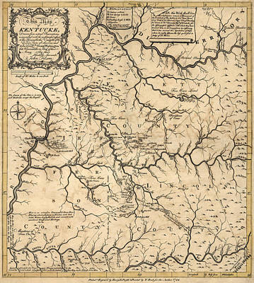 John Art Drawing - Antique Map Of Kentucky By John Filson - 1784 by Blue Monocle