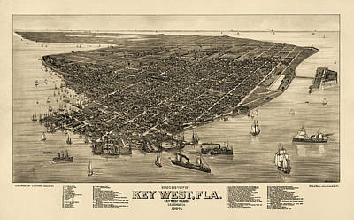Map Drawing - Antique Map Of Key West Florida By J. J. Stoner - 1884 by Blue Monocle