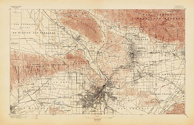 Los Angeles Drawing - Antique Map Of Los Angeles - Usgs Topographic Map - 1897 by Blue Monocle