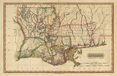 Antique Map Of Louisiana By Fielding Lucas - Circa 1817 Print by Blue Monocle