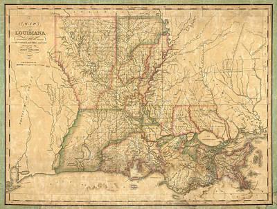 John Art Drawing - Antique Map Of Louisiana By John Melish - 1820 by Blue Monocle