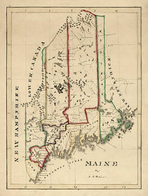 Old Drawing - Antique Map Of Maine By A. T. Perkins - Circa 1820 by Blue Monocle