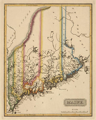 Vintage Map Drawing - Antique Map Of Maine By Fielding Lucas - Circa 1817 by Blue Monocle