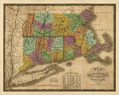 Antique Map Of Massachusetts Connecticut And Rhode Island By Samuel Augustus Mitchell - 1831 Print by Blue Monocle