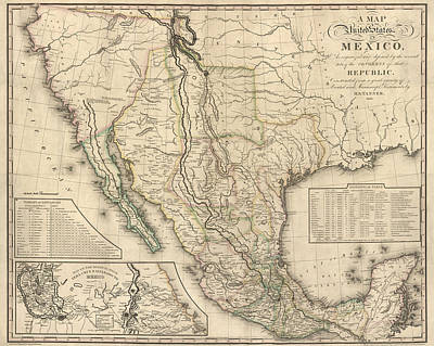 Old Drawing - Antique Map Of Mexico By Henry Schenck Tanner - 1826 by Blue Monocle