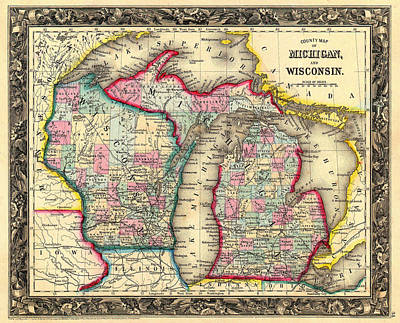 Antique Map Of Michigan And Wisconsin 1860 Print by Mountain Dreams